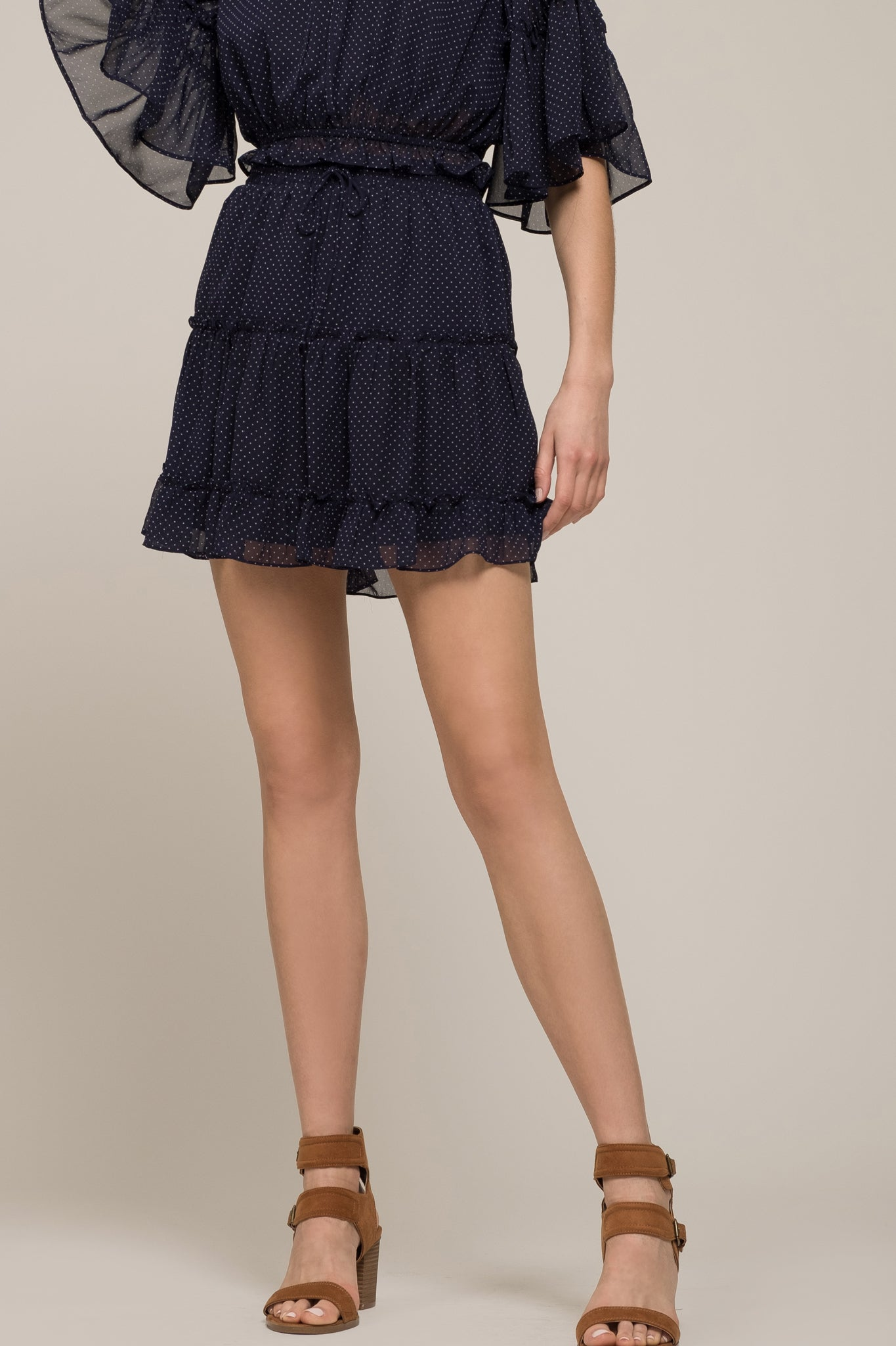 TIERED MINI SKIRT WITH WAIST TIE