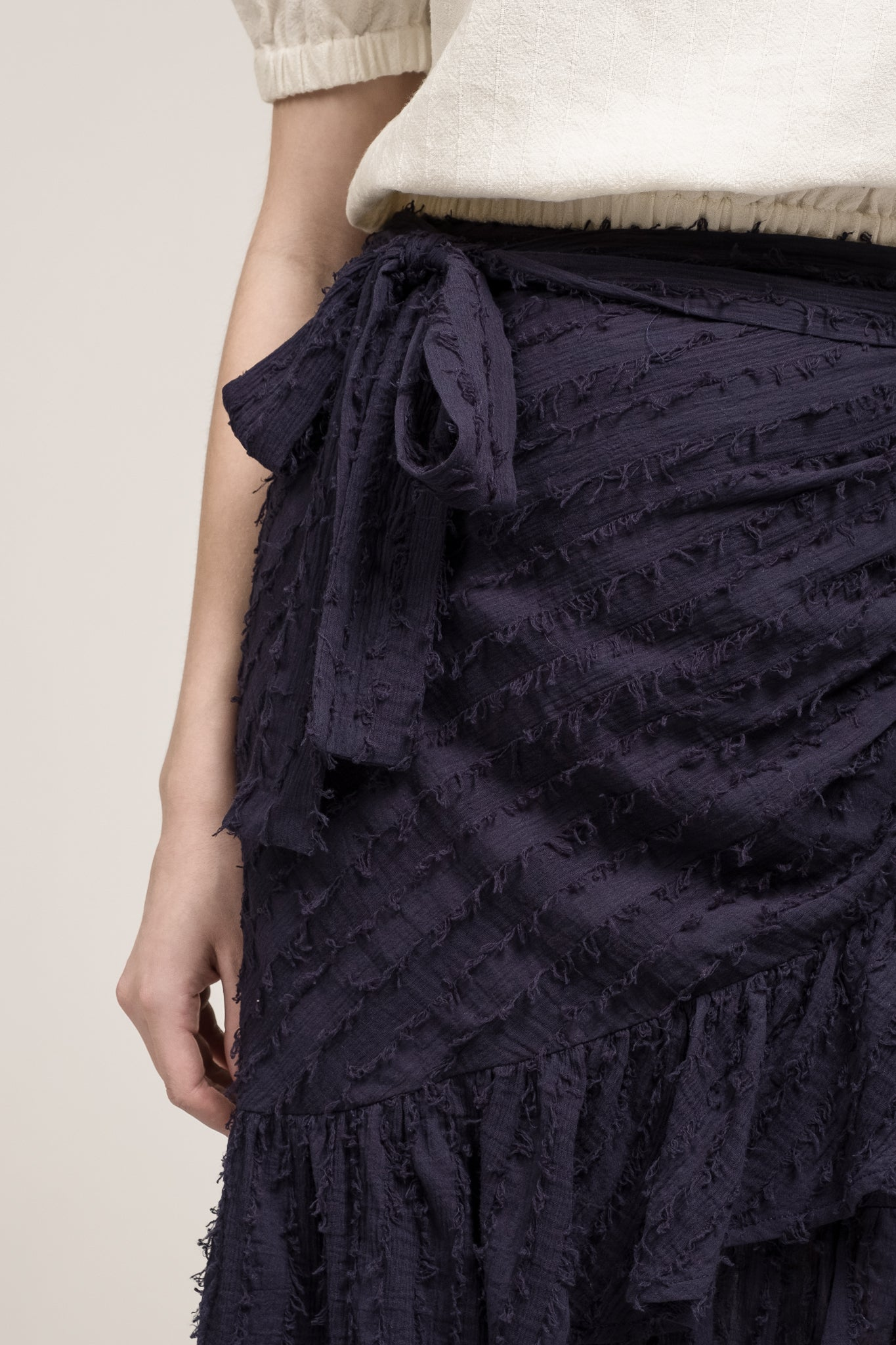 WRAP SKIRT WITH RUFFLED TRIM