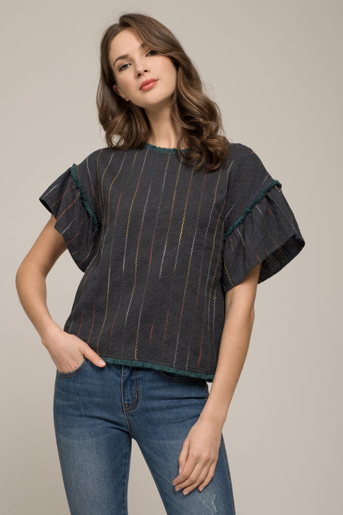 dd8f46e9f3c98d COLD SHOULDER RUFFLE TOP WITH DISTRESSED HEM.   80.00. FLUTTER SLEEVE TOP  WITH SURPLICE BACK