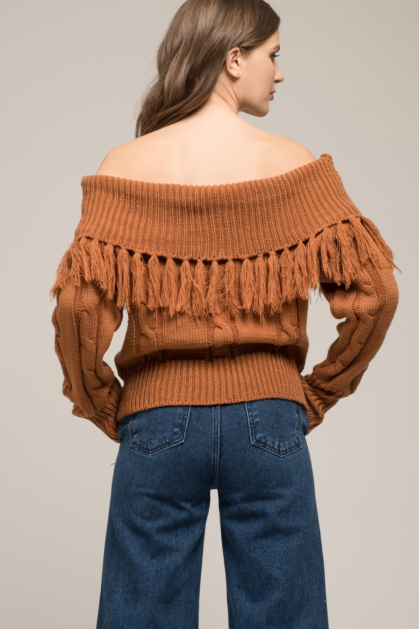 SWEATER WITH FRINGED COWL NECK