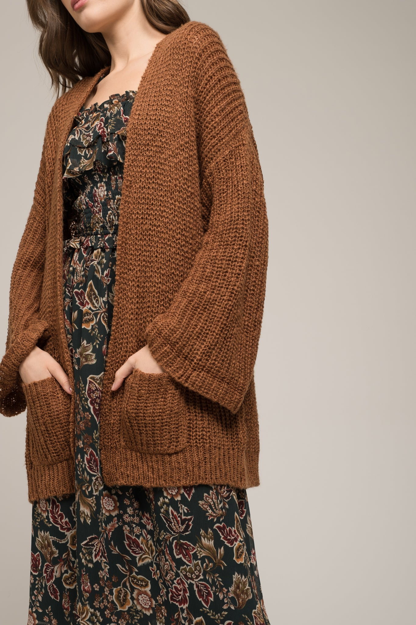 SLOUCH CARDIGAN WITH FRONT POCKETS