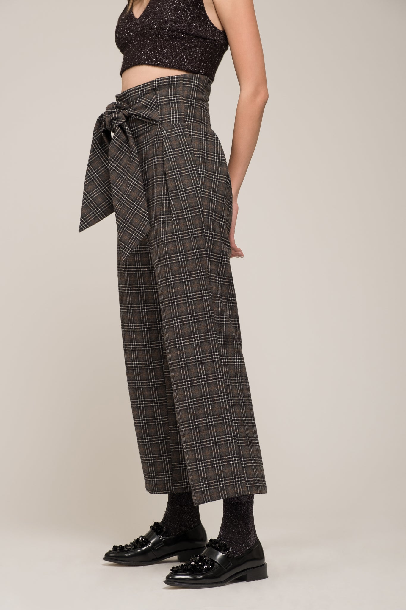 PLAID HIGH WAIST TIE PANT