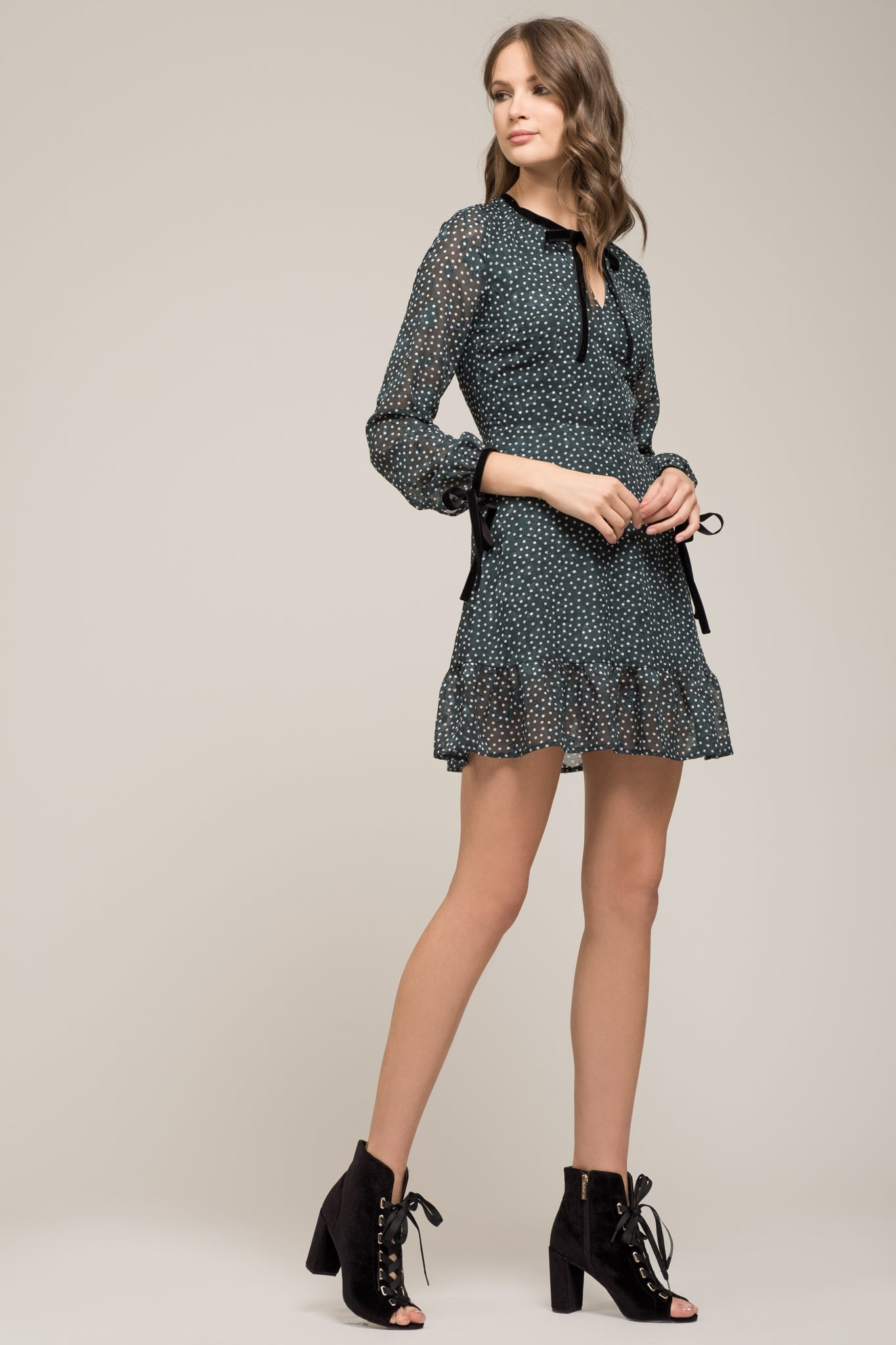 e02075433ba RUFFLE HEM LONG SLEEVE DRESS – Moon River