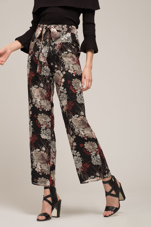 WIDE LEG PANTS WITH WAIST TIE