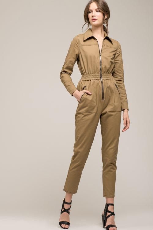 7497cc4e505 LONG SLEEVE COLLARED JUMPSUIT