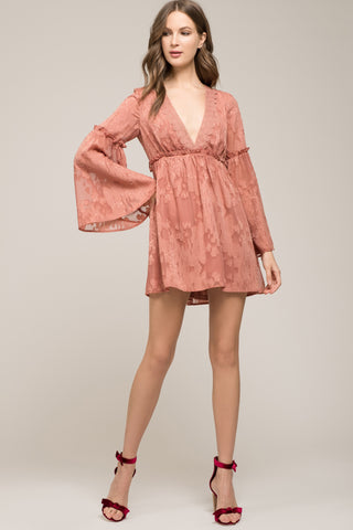 FLARED SLEEVE WRAP DRESS