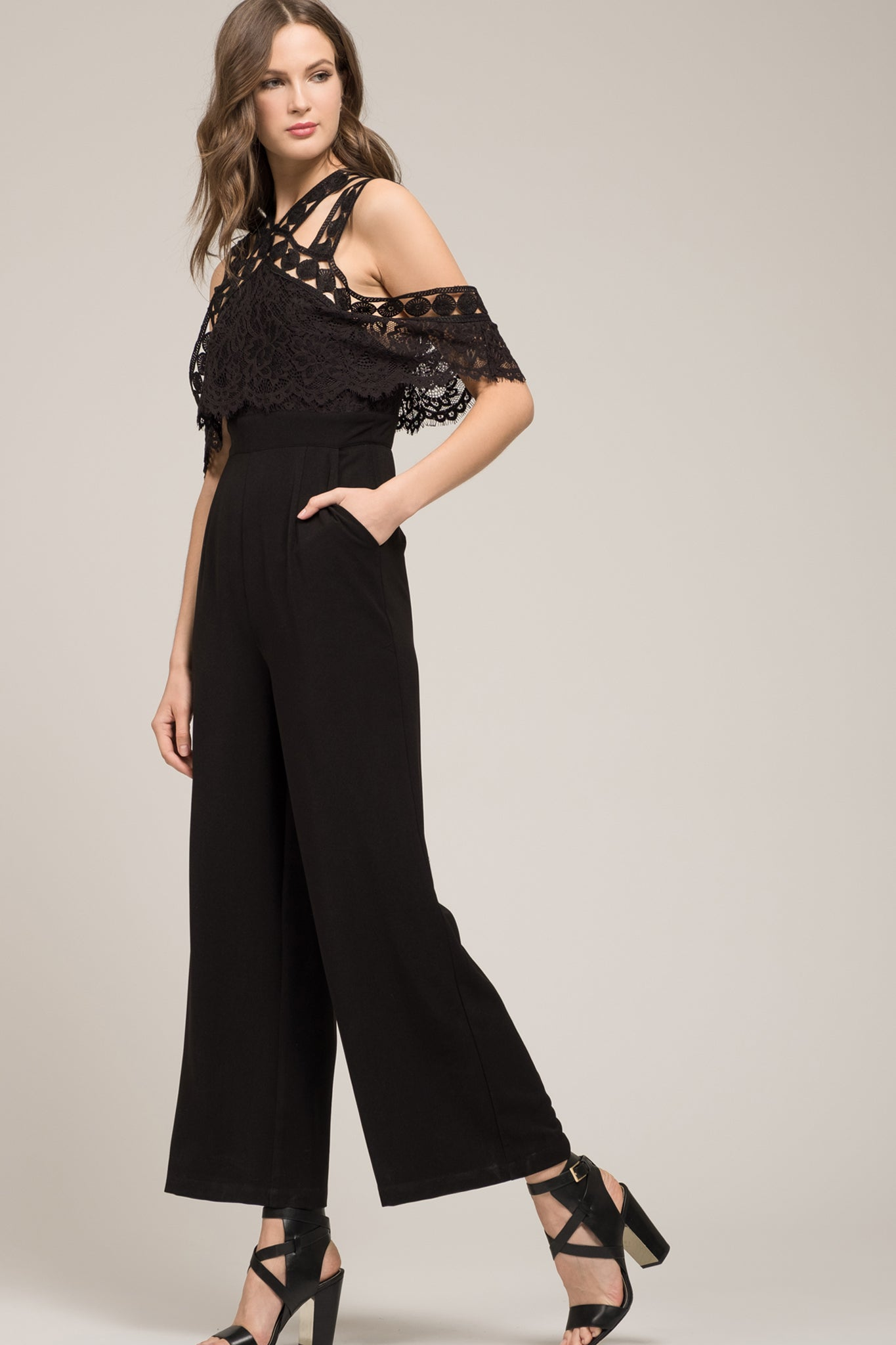 COLD SHOULDER LACE JUMPSUIT