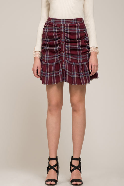 ROUCHED MINI SKIRT WITH RUFFLES