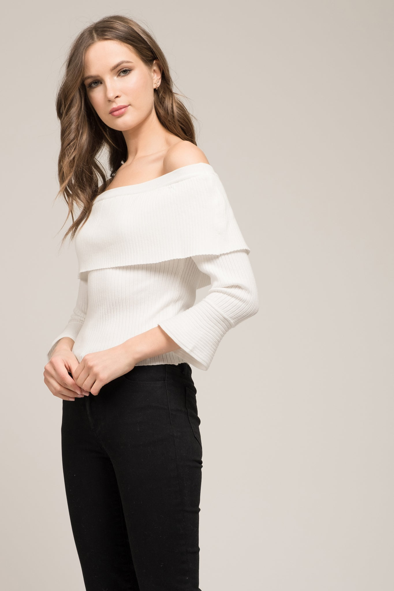 414ef39dd304a2 OFF THE SHOULDER FOLD OVER SWEATER – Moon River