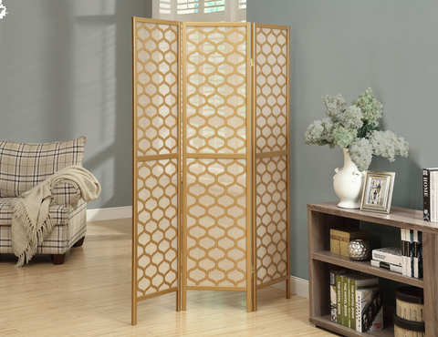 3 Panel Folding Screen-Gold Finish