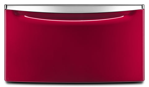 "Laundry 123® 15.5"" Laundry Pedestal with Chrome Handle and Storage Drawer in Red"