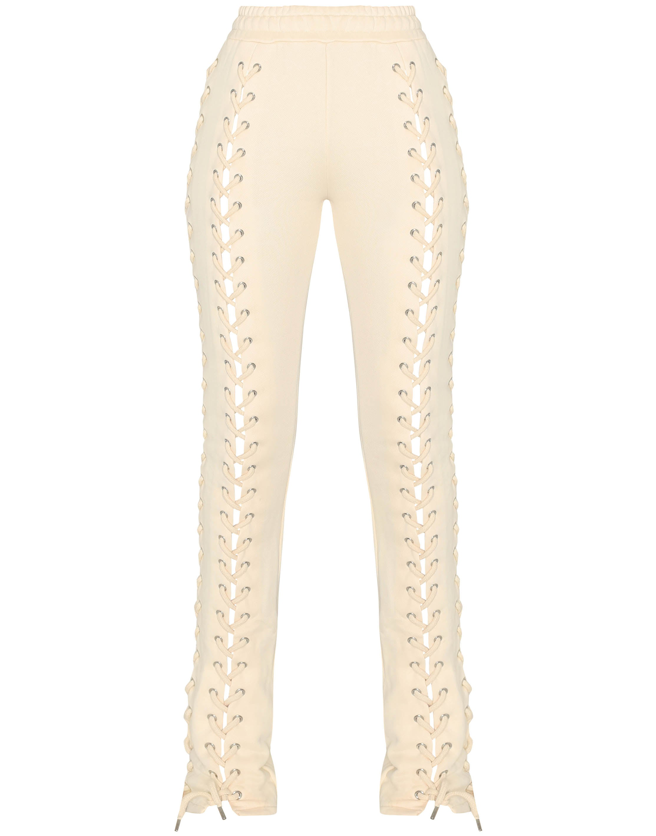 HIDDEN CULT Wynn Laced Up Cream Off White Pants Nude Sand Beige Fashion Streetwear Sweatpants