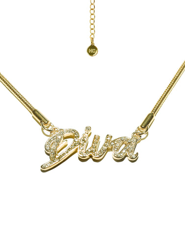 HIDDEN CULT Diva Rhinestone 18K Gold Plated Bracelet/Anklet Summer Gold Jewelry Rhinestone Letters