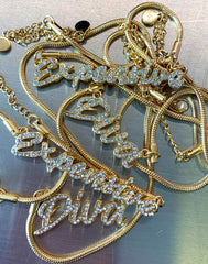 HIDDEN CULT Expensive Rhinestone 18K Gold Plated Necklace Streetwear Jewelry Rhinestone Letters