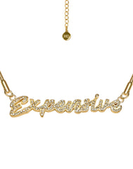 HIDDEN CULT Expensive Rhinestone 18K Gold Plated Bracelet/Anklet Summer Jewelry Rhinestone Letters
