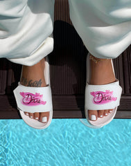 HIDDEN CULT Diva 90's Airbrush White Slides Pink Cute Hearts 00s 2000s y2k Women Slides Summer Shoes
