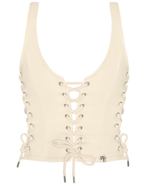 HIDDEN CULT Wynn Laced Up Cream Off White Top Nude Sand Beige Fashion Streetwear Bustier Top