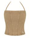 HIDDEN CULT Terra Brown Top Women Bustier 100% cotton french terry halter tube top sweat top