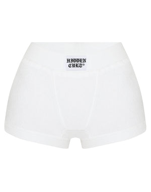 HIDDEN CULT Terry White Boxer Shorts Embroidered Lounge wear Boxer Shorts Briefs Terry Cloth Fabric