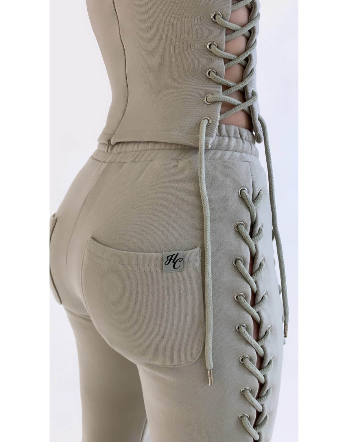 Wynn Laced Up Taupe Pants