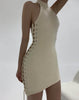 HIDDEN CULT Wynn Laced Up Cream Off White Asymmetrical halterneck dress