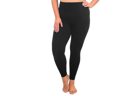 Elietian High-Waisted Plus Size Seamless Traditional Black Leggings