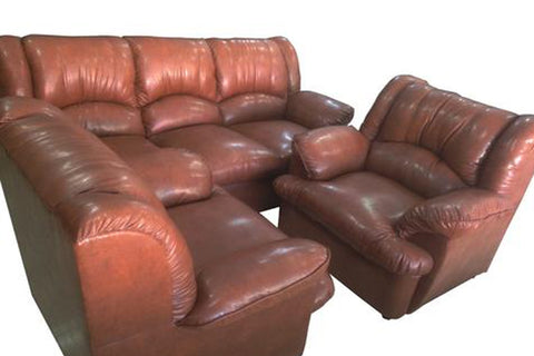 Metope Brown Leather Sofa Set