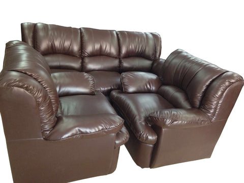 Triton Brown Leather Sofa Set - FabX - 1