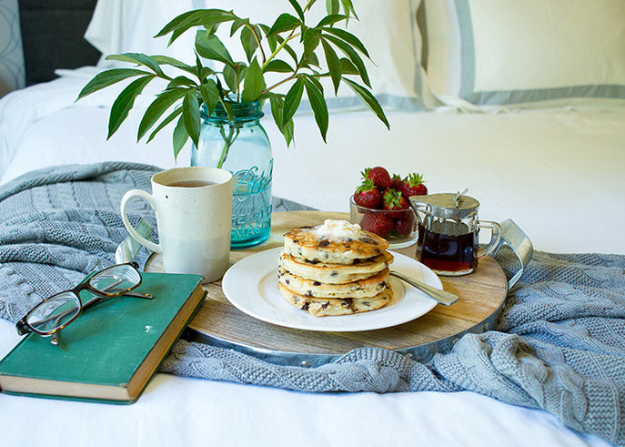 Vegan Chocolate Chip Pancakes for a Summer Breakfast in Bed