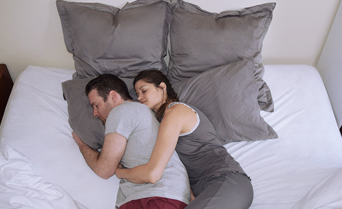 Little Spoon and Big Spoon Cuddling Positions in Boll & Branch Bedding
