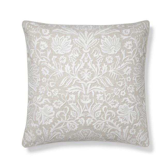 Embroidered Floral Decorative Pillow Cover