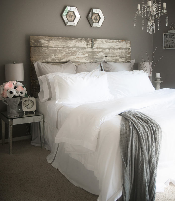 Organic Cotton Bedroom Makeover All White and Gray