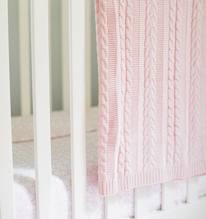 Pink Cable Knit Cotton Baby Blanket