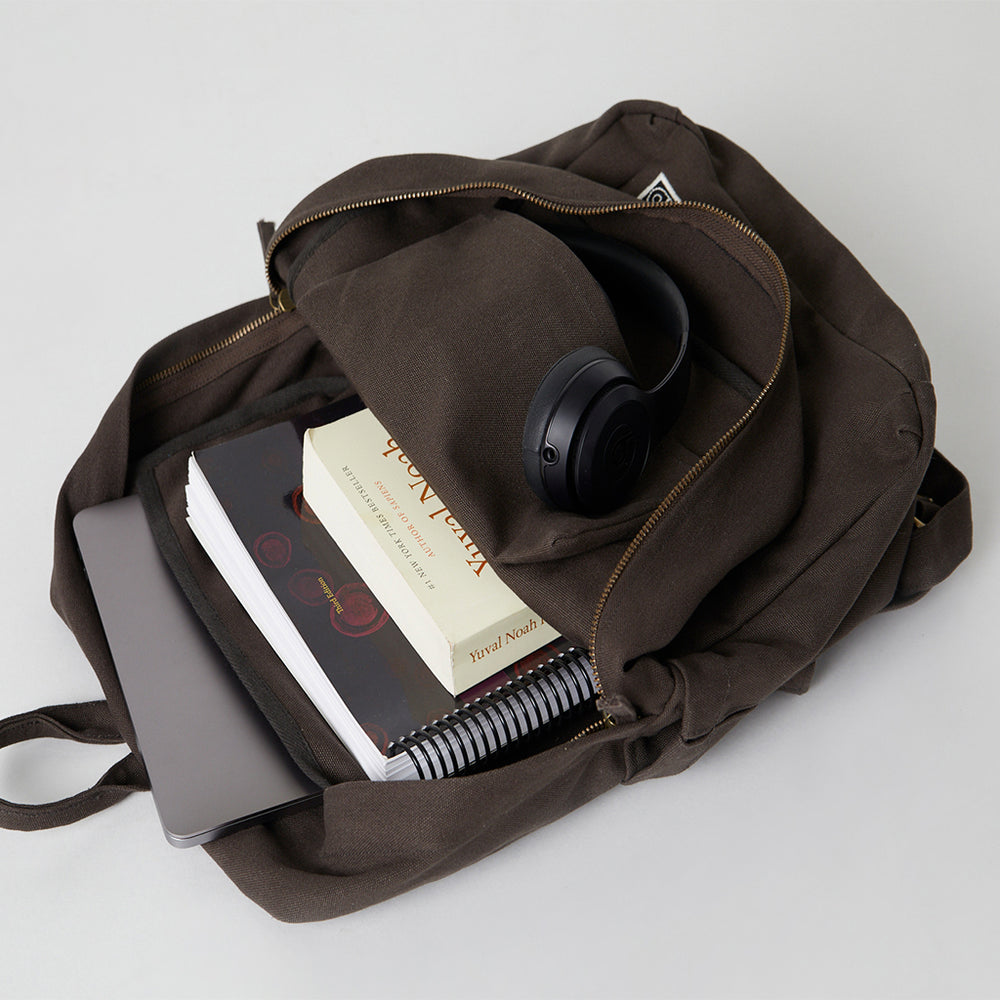 Brown Fairtrade Backpack with inside pocket