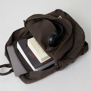 Load image into Gallery viewer, Brown Fairtrade Backpack with inside pocket