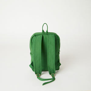 Back view of a Terra Thread green canvas backpack