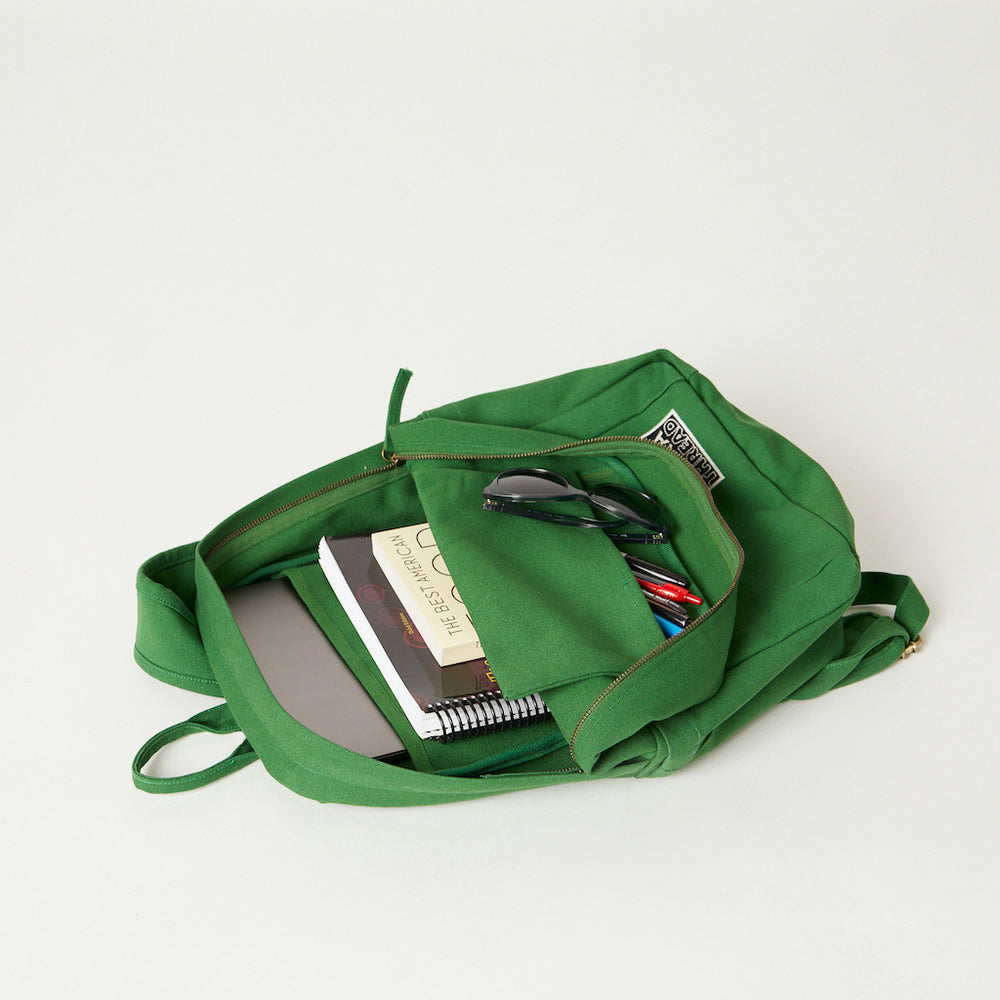 Inside view of a Terra Thread green canvas backpack