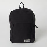 Front view of a Terra Thread black Fair Trade backpack