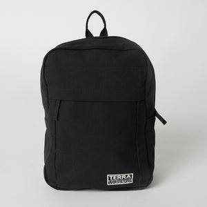 Load image into Gallery viewer, Front view of a Terra Thread black Fair Trade backpack
