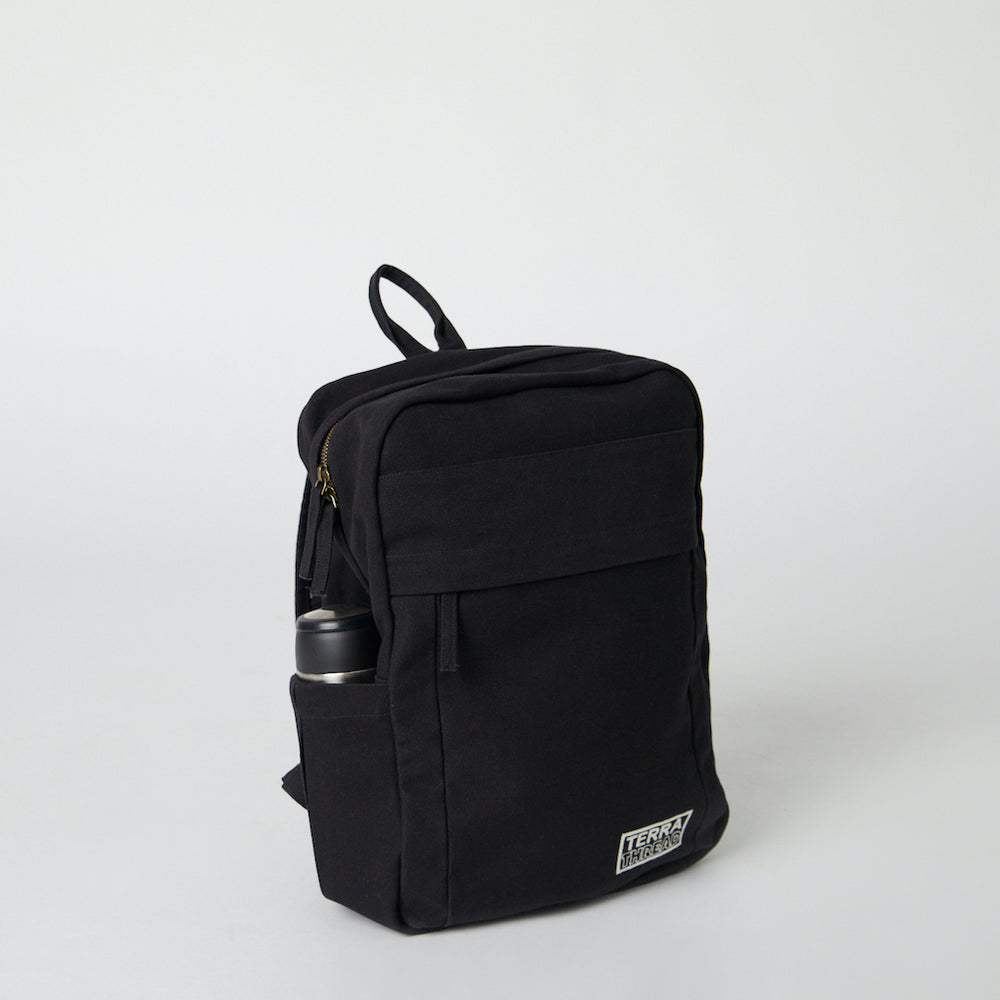 Load image into Gallery viewer, Side view of Terra Thread Fair Trade backpacks organic