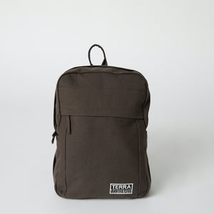 Front view of a brown Terra Thread organic cotton backpack