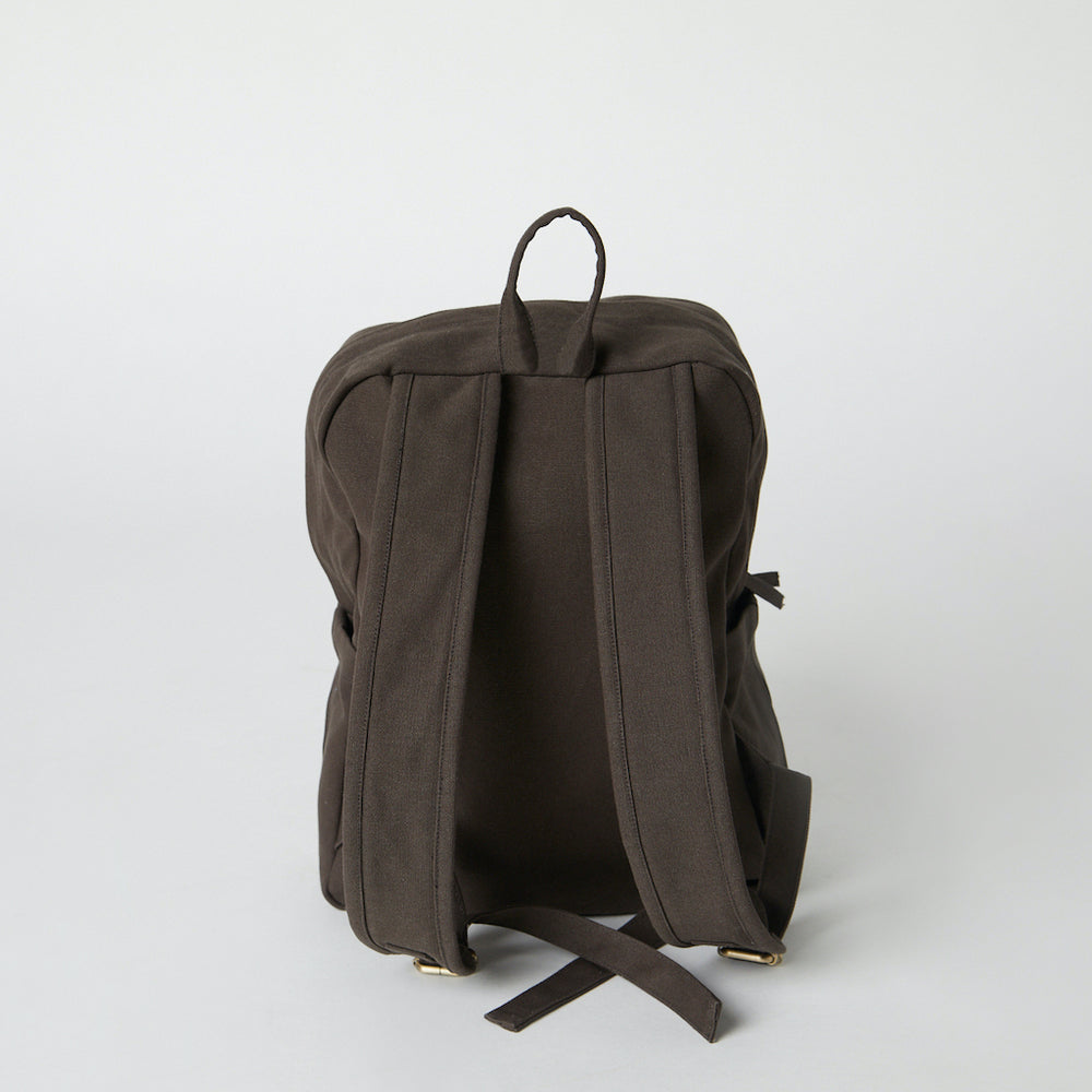 Load image into Gallery viewer, Back view of a brown Terra Thread organic backpack