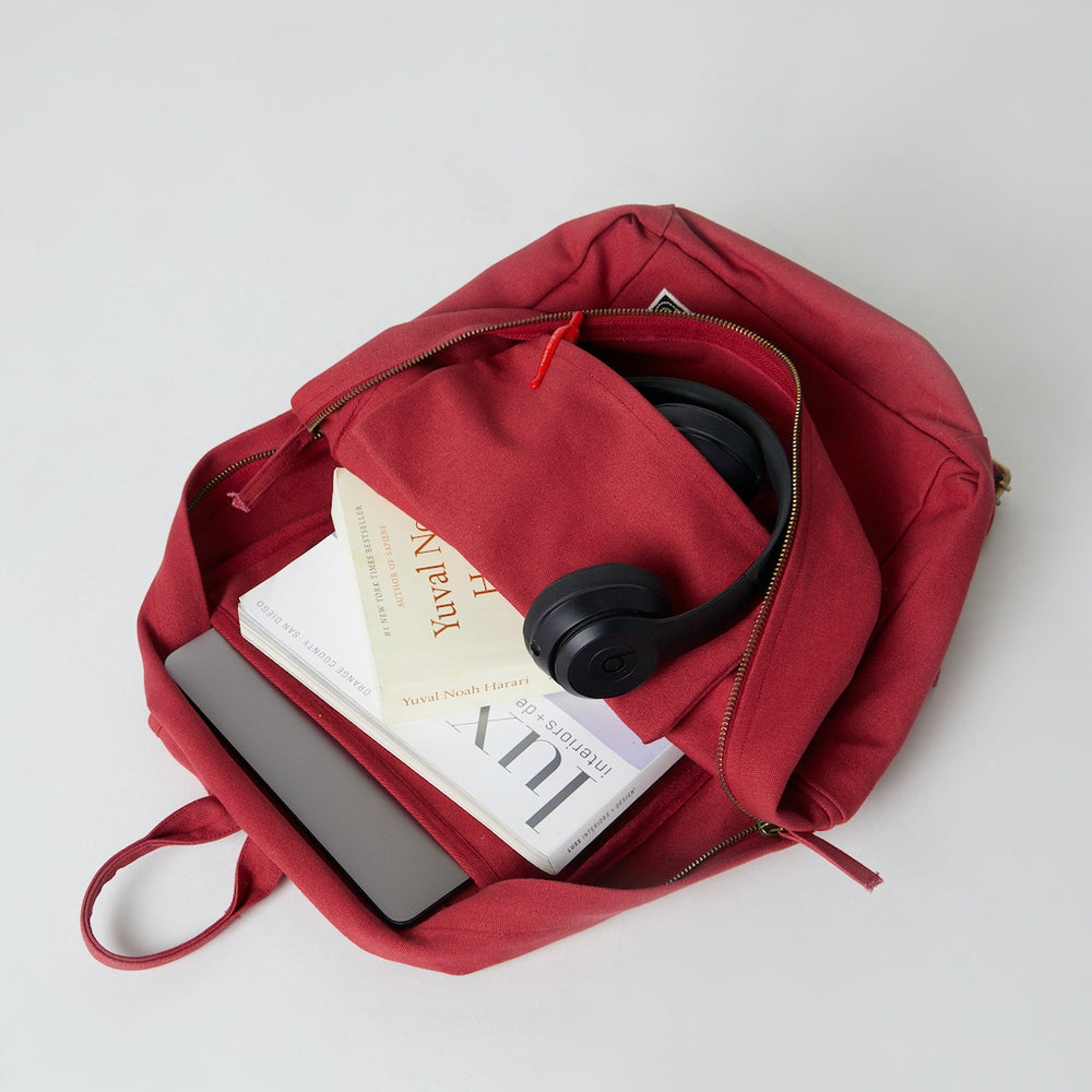 Load image into Gallery viewer, Inside view of a Terra Thread organic cotton backpack