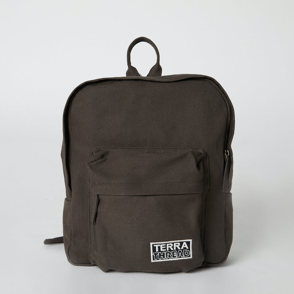 front view of sustainable backpack in brown color