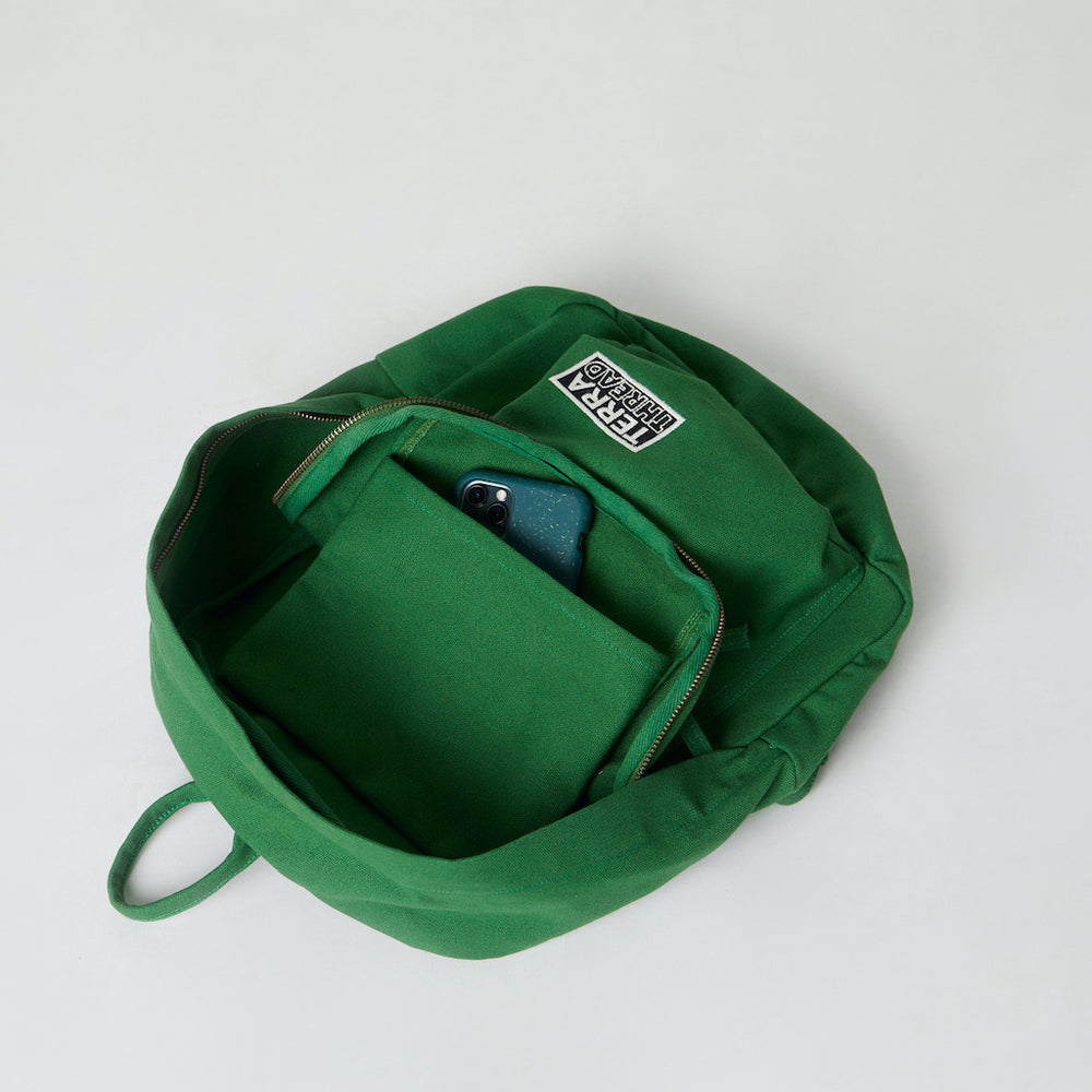 Inside view of cotton canvas backpack with inside pocket