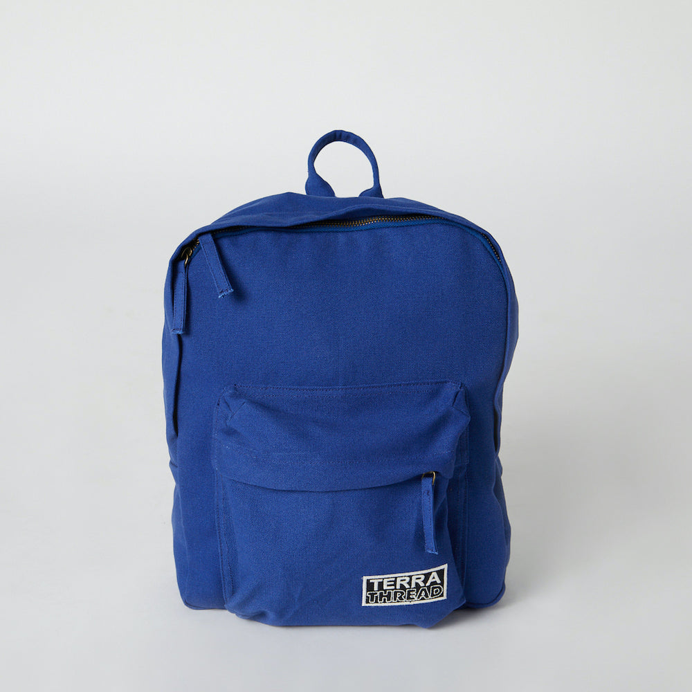 front view of blue color eco friendly backpacks with front pocket