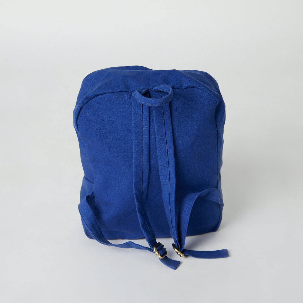 view of back of the blue color ethical vegan backpack