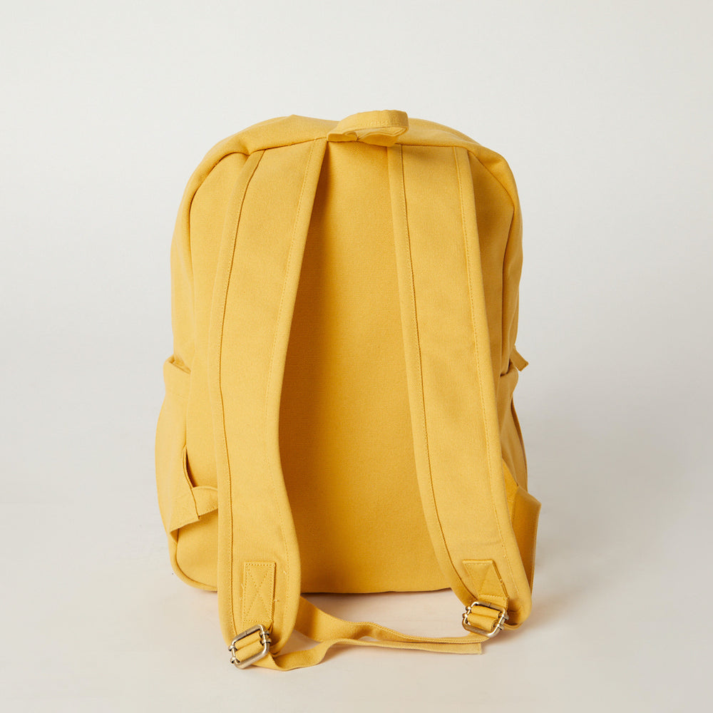 Load image into Gallery viewer, Back view of a yellow travel backpack from Terra Thread