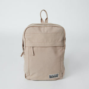Front view of a Terra Thread organic cotton backpack