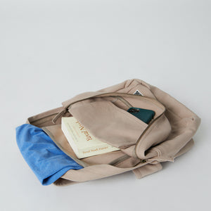 Inside of a Terra Thread vegan canvas backpack